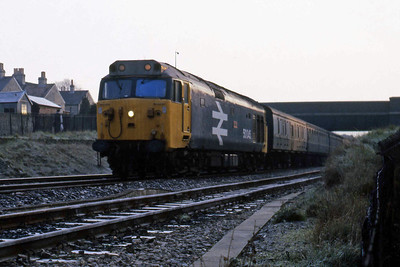 50045 'Achilles' arrives at Oldfield Park with the 07xx Swindon - Taunton (22/02/1988)