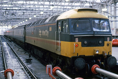 47515 'Night Mail' is pictured on arrival at Glasgow Central with the previous night's 1S19 1840 Plymouth - Edinburgh, which it had worked forward from Carlisle via Dumfries and Kilmarnock (31/01/1988)