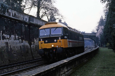 47549 'Royal Mail' passes though Bath's Sydney Gardens on its way to pick up an engineering haulage train (22/02/1988)