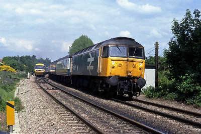 A northbound HST accelerates towards Birmingham as 47657 approaches Blackwell Summit with 1V53 0920 Glasgow Central - Paignton (27/05/1988)