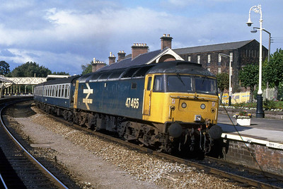 47465 waits time at Dumfries with 1M03 1313 Glasgow Central - Carlisle (13/09/1988)