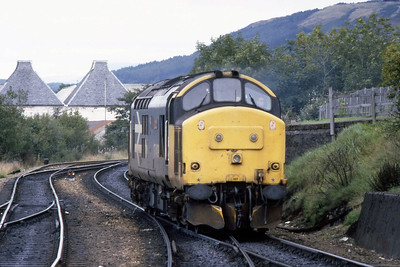 37409 'Loch Awe' backs onto its train at Fort William prior to working 1T34 1445 to Glasgow Queen Street (15/09/1988)