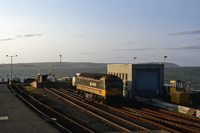 The end of the line: 47525 looks out across Loch Ryan after stabling its stock for the night at Stranraer (13/09/1988)