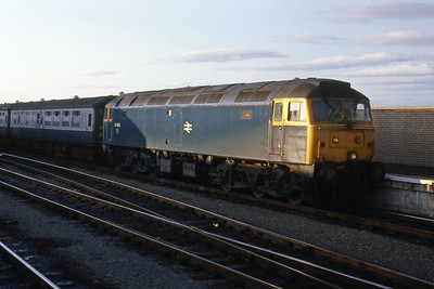 47608 waits to depart from Stranraer Harbour with the 1835 to Glasgow Central (13/09/1988)
