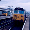 50021 woring the 12:03 Portsmouth Harbour - Paignton and 50032 on empty coaching stock at Exeter St David's 18/02/88