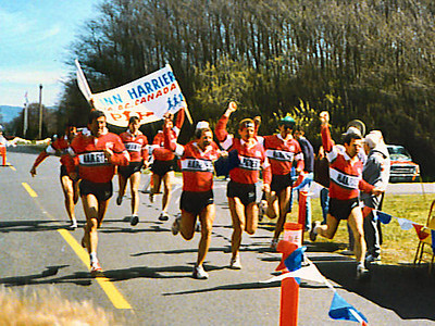 Lewis & Clark Relay - 1989 - The team hits the line
