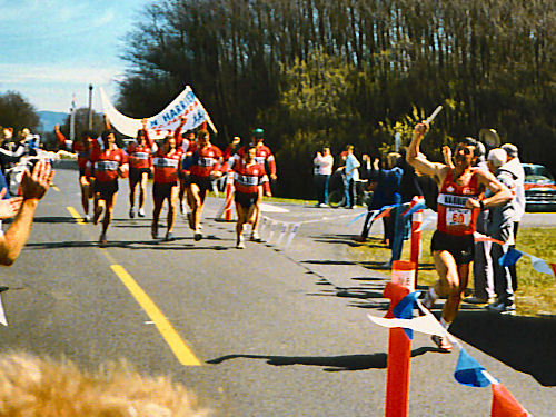 Lewis & Clark Relay - 1989 - The Finish - Bob Reid leads the team to the finish