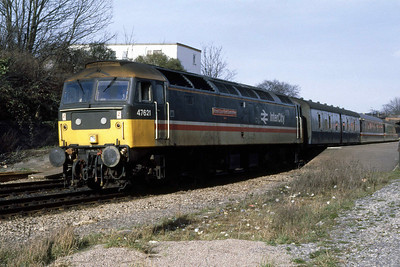 47621 'Royal County of Berkshire' departs from Cheltenham Spa with 1V50 0709 Glasgow - Penzance (04/03/1989)