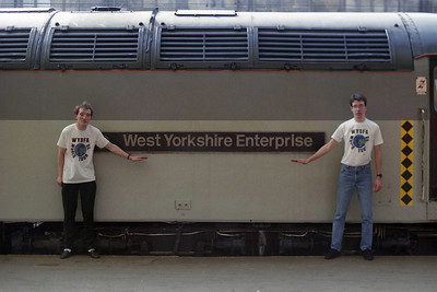 Myself and Mr Allen with 56075 at Carlisle prior to the departure of 1E11. By process of elimination, Mr Hirst was using my camera (17/03/1990)
