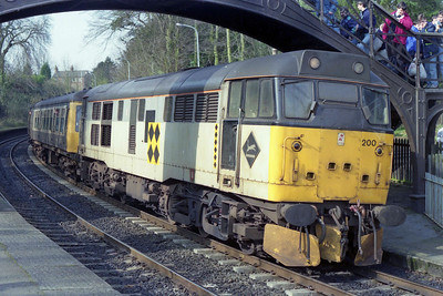 For those who ventured to the 'Border City' an unexpected 'fill-in'  move was available after the failure of the booked 'DMU'. 31200 is seen here at Wetheral with the 1135 Carlisle - Newcastle (17/03/1990)