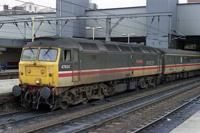 47824 'Glorious Devon' awaits departure from Leeds with the SuO 1450 to Cardiff Central (04/03/1990)