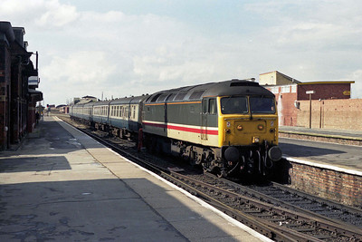 47557 is pictured on arrival at Cleethorpes with the 1335 from Sheffield (16/04/1990)