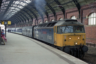 47424 'The Brontes of Haworth' departs from Darlington with 1E49 0652 Liverpool-Newcastle (16/04/1990)