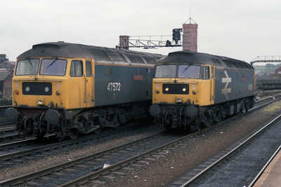 Parcels Sector 47572 'Ely Cathedral' and 47580 'County of Essex' reminisce about their 'Stratford' days at Leeds (19/05/1990)