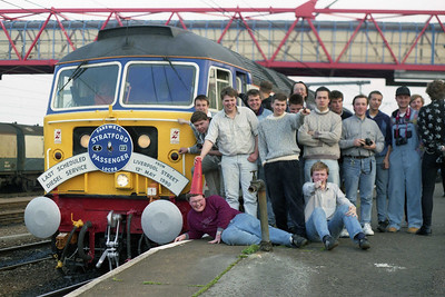 A selection of faces, old and new, celebrate/mourn the last booked passenger turn for a 'Stratford' 47 (12/05/1990)