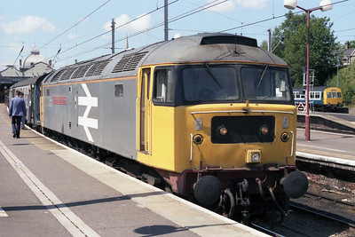 Stratford's 47366 'The Institution of Mechanical Engineers' at Norwich having taken over 1L82 0800 Liverpool-Yarmouth from 47123 for the short run to the coast (26/05/1990)