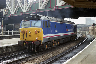 50033 'Glorious' leaves Paddington for either Royal Oak or Old Oak Common after being the empty stock of its inbound working had been removed by 47583 (12/05/1990)