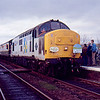 37411 at Appleby on Pathfinder Railtours Swindon - Carlisle Pennine Wanderer railtour 10/03/90