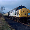 37411 at Warcop on Pathfinder Railtours Pennine Wanderer railtour 10/03/90