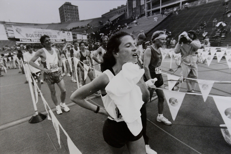 Womens Citizen's race winner Diane Bussa at the finish line in Folsom Field at the 1995 Bolder Boulder.
