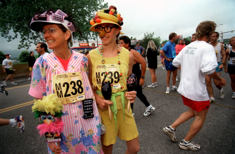 Robin Duffy and Jennifer Duffy dress for the 1999 Bolder Boulder. <br /> Online Race Results