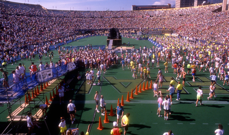 The finish of the 1990 Bolder Boulder in Folsom Field.