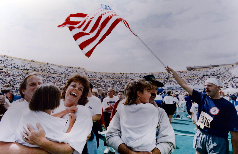 The Stroup family at the finish of the 1996 Bolder Boulder. <br /> Photo by Cliff Grassmick <br /> Daily Camera Ident