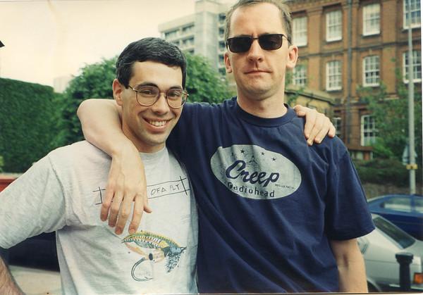 June 1994 - With Eddy Ryan at Jujus wedding, London, England.