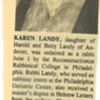 1996 06 Karen's Rabbinical Graduation Announcement