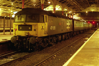 47635 'Jimmy Milne' stands at Preston after working the final loco-hauled passenger train on the Furness line, 2N42 1959 from Barrow. The train then went forward an hour or so later as 2F33 2255 Preston to Liverpool Lime Street (19/01/1991)