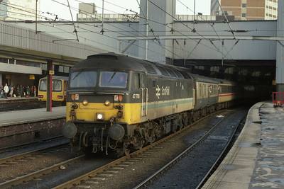 Deputising for an unavailable Inter City '47/8', 47706 departs Leeds with 1V54 1144 York-Swansea. As with sister '704 in an earlier picture, the former 'Strathclyde' was also now a Crewe-based 'RXLC' machine (05/01/1991)