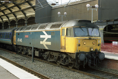 47443 'North Eastern' rests on arrival at Newcastle with 1E57 0925 ex-Liverpool. In less than three weeks' time, familar sights such as this would be consigned to history as the loco-hauled 'Trans Pennine' turns were replaced by new-build '158s' (02/01/1991)