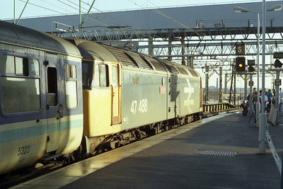 47488 attracts the crowds as it departs from Manchester Piccadilly and hour later with 1E57 (19/01/1991)
