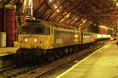 47422 poses for the camera at Liverpool Lime Street with 1E66 1725 to Newcastle, the penultimate loco-hauled 'Trans Pennine' deoparture from the city. Just visible at the rear of the train is 47640, which worked the final service two hours later (20/01/1991)