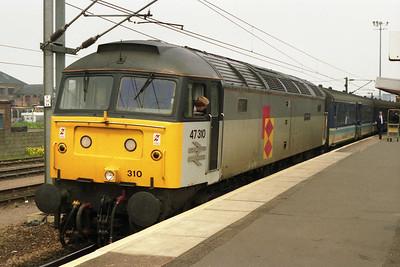 47310 calls at Peterborough with 1L93 0847 Birmingham-Yarmouth (25/05/1991)