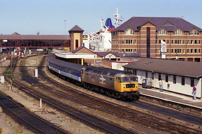 The former Thornaby favourite waits to depart from Holyhead with the return 2J35 1354 to Manchester Victoria (17/08/1991)