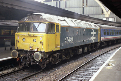 The legendary 47449 'Oribi' waits to depart from London Paddington with 1F34 1520 to Oxford (04/11/1991)