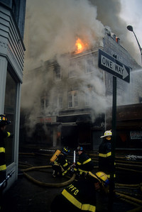 Pompton Plains firefighters set up a multi-versal on Washington St & Van Houten St.