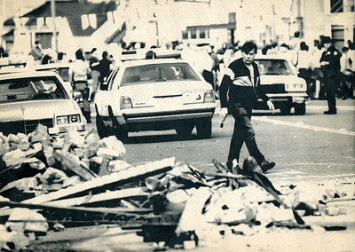 Ferndale was heavily affected by the Cape Mendocino quakes. Rubble lay on the streets as the city coped with the damages. (Photo by The Associated Press)