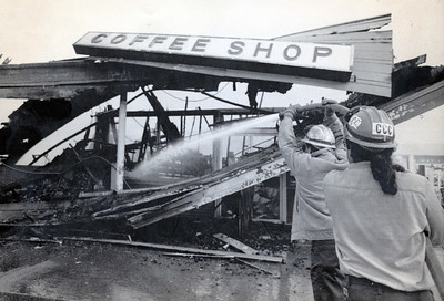 The Scotia Coffee Shop was destroyed in a fire that occurred after the Cape Mendocino quakes hit in April 1992. (Photo by The Associated Press)