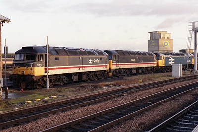 Withdrawn 47643, 47672 and 47436 await their respective fates outside Inverness TMD (04/01/1992)