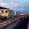 20081 + 20016 arrive at the now closed Morecambe Promanade station working the 07:40 London Euston - Heysham Port railtour 15/02/91