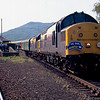 37156 + 37196 pause at Rannoch with Pathfinder Railtours Skirl Revisited railtour, 17:50 Minehead - Fort William 11/06/93