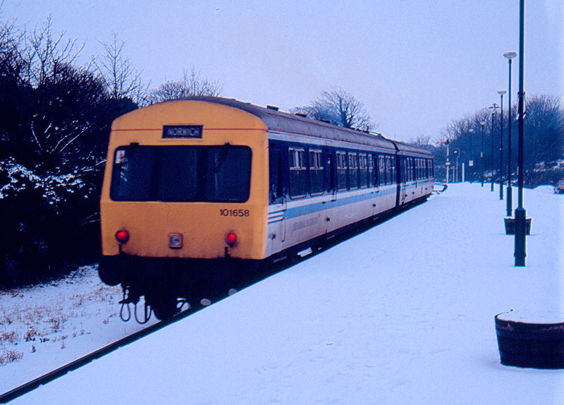 101658 departs Cromer working the 14:55 Sheringham - Norwich 04/01/93