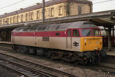 Freshly repainted into the new 'Technical Services' hourse colours, 47972 'The Royal Army Ordnance Corps' is pictured on standby duty at Preston during a weekend of 'S&C' diversions (24/04/1993)
