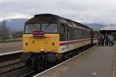 47809 is pictured again during the Aviemore 'set-down' stop with the 'Highland Explorer' charter. The outward route had taken in the 'S&C', Beattock and Forth Bridge before the highlight of the journey, a run over the Highland main line (12/04/1993)