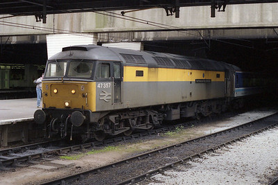 Making a rare passenger appearance (the loco was part of the Civil Engineer's pool based at Bescot) 47357 'The Permanent Way Institution' is pictured on arrival at Birmingham Newt Street with 1M93 1014 ex-Great Yarmouth, which was the opposite working to the service in the previous photo (22/05/1993)