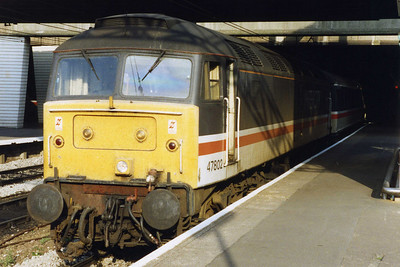 Making in equally rare appearance on passenger duties was 47802. Now a member of the 'IMJK' ballast pool, the former 'IC' machine waits to depart from Birmingham New Street with 1M79 1343 Dover-Liverpool, and it was to be more than fourteen years before I next sampled it on 'Class 1' work (28/08/1993)