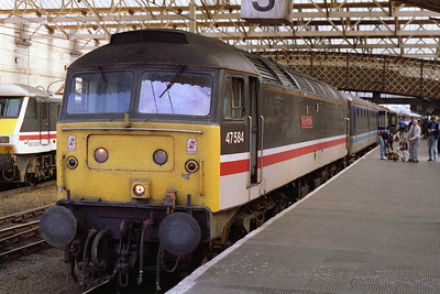 47584 'County of Suffolk' is pictured on arrival at Carlisle with Classic Days' 0830 Nottingham to Morecambe charter via the 'S&C' (15/08/1993)