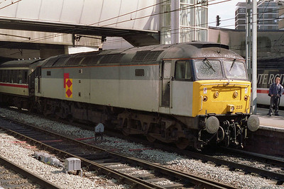 Now adorned with RfD 'Diamonds', former Immingham Petroluem sector 47223 is pictured on arrival at Birmingham New Street with 1M03 1014 ex-Great Yarmouth (14/8/1993)